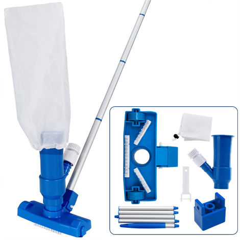 Deuba 3 Pieces Swimming Pool Cleaning Set Suction Floor Waste Container Variable Rod Extendible 3 Brushes Maintenance