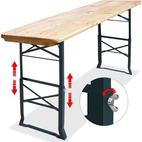 Deuba Wooden Table Foldable Height Adjustable Outdoor Indoor Breakfast Bar Garden Furniture Kitchen Counter Party 180cm