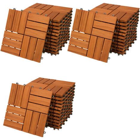 33x Deuba Wooden Decking Tiles 3m³ Interlocking Terrace Garden Balcony Patio Hot Tub 30 x 30 cm (Acacia Mosaic)