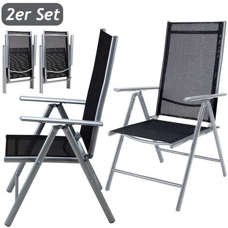 2x Deuba Garden Dining Chair Bern Folding Chairs Set Aluminum Recliner Outdoor Patio Silver or Anthracite
