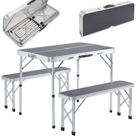 Portable Aluminium Camping Table & 2 Folding Benches with Case Feature White Grey