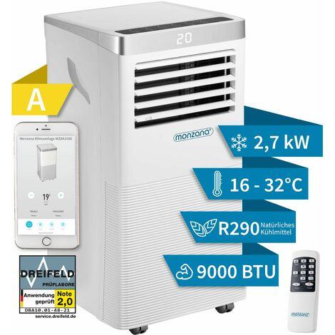 Monzana Air Conditioner MZKA1000 WiFi App Portable 5in1 Portable Air Conditioning Unit Remote Control Dehumidifier 9000 BTU Sleep Timer Heater