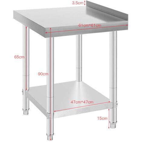 WYCTIN® Tavolo da lavoro Premium in acciaio inossidabile 61 * 61 * 90 cm - Con paraspruzzi professionale