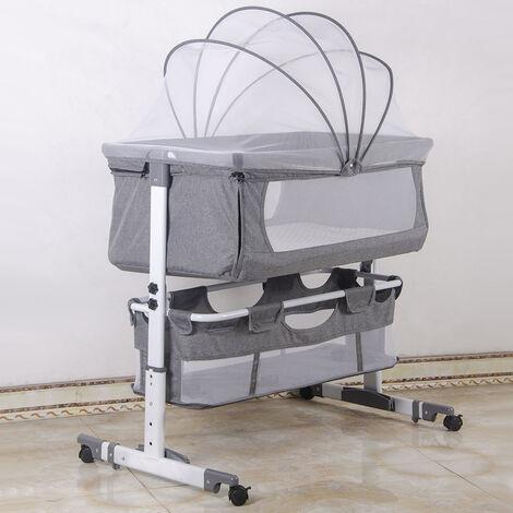 Culla Culla Co-sleeping Inclinazione e altezza regolabile con letto laterale con giocattolo sospeso Lettino per camera da letto Soggiorno da viaggio,zanzariera