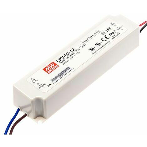 Alimentation LED 12V 60W IP67 Entrée 230VAC
