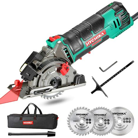 Mini Circular Saw, HYCHIKA Circular Saw with 3 Saw Blades, Laser Guide, Scale Ruler, 500W Pure Copper Motor, 4500RPM Ideal for Wood, Soft Metal, Tile and Plastic Cuts