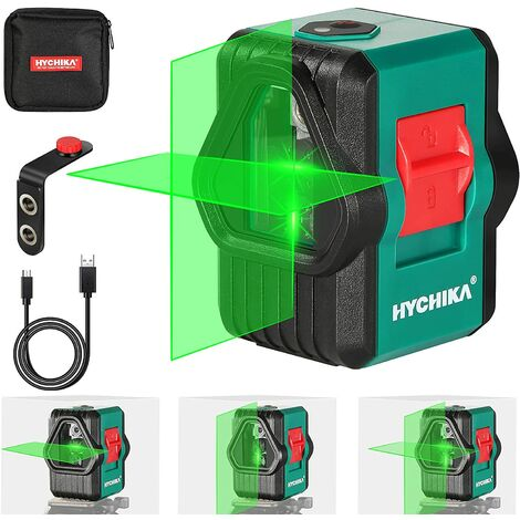 Laser Level, HYCHIKA Dual Modules Green Laser Level for Outdoor, Rechargeable Laser Level Self Leveling with Magnetic Bracket, Switchable Cross line, Horizontal and Vertical Line