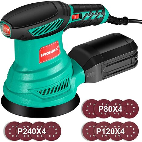 Orbital Sander, HYCHIKA 300W 13000RPM 6 Variable Speeds 125mm Random Orbital Sander, 12Pcs Sandpapers, Orbit Sander with Dust Collection, Ideal for DIY Woodworking Sanding