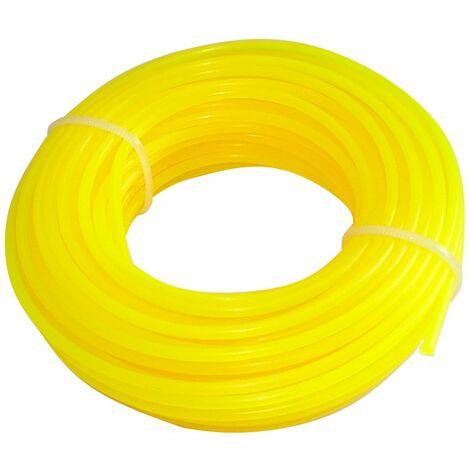 Fil nylon profil rond 2.4mm 15m pour débroussailleuse désherbeuse