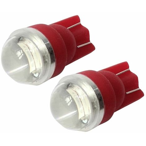 2x ampoule T10 W5W 12V 2LED SMD FLOOD rouge veilleuses éclairage intérieur seuils de porte plafonnier pieds lecteur de carte coffre compartiment moteur