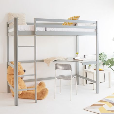 WestWood High Sleeper Wooden Single With Desk No Mattress Grey