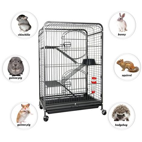 FoxHunter 93.5CM Metal Pet Cage 4 Level FH-MPC-03 Hammered Silver