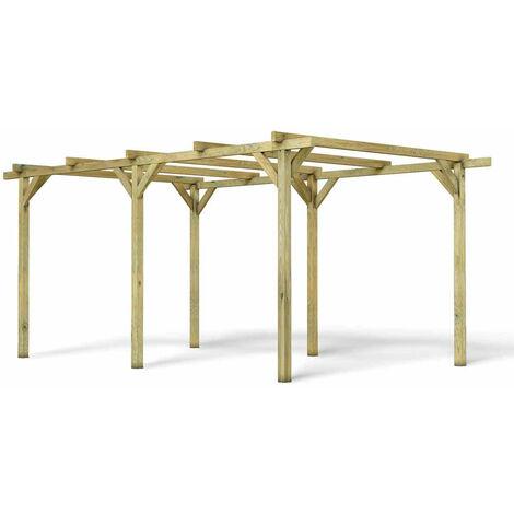 MADEIRA- Carport en bois traité autoclave, 1 voiture, 15.36 m² - pergola en pin sylvestre- arche de jardin en bois - qualité garantie- 300 X 512cm, Hauteur 231 cm- Paco