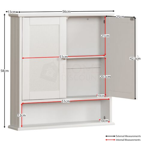 Priano 2 Door Mirrored Wall Cabinet With Shelf