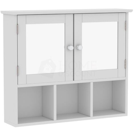Priano 2 Door Mirrored Wall Cabinet With 3 Compartments