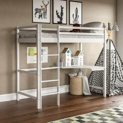 Sydney Bunk Bed With Desk, White