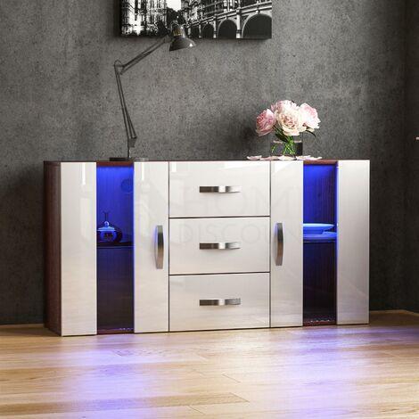Astro 2 Door 3 Drawer LED Sideboard, Walnut & White