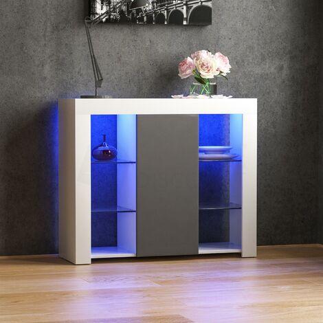 Azura 1 Door Large LED Sideboard, White & Grey