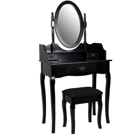 Nishano 3 Drawer Dressing Table, Black, Large