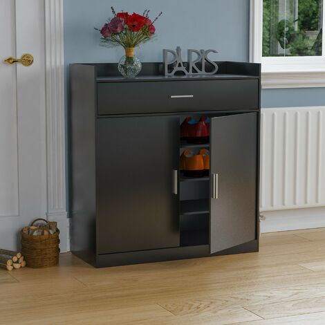 Dalby 2 Door 1 Drawer Shoe Cabinet, Black