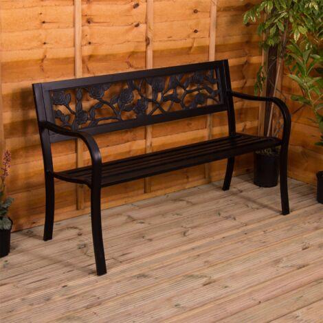 Steel Garden Bench, Rose