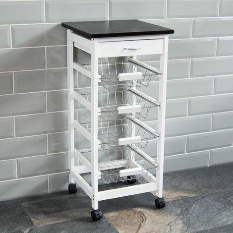 4 Tier Wooden Kitchen Trolley, White