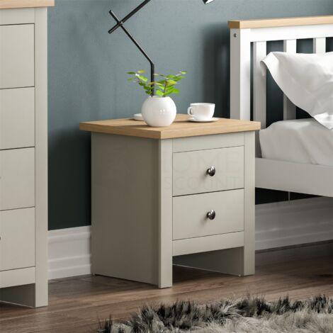 Arlington 2 Drawer Bedside Chest, Grey