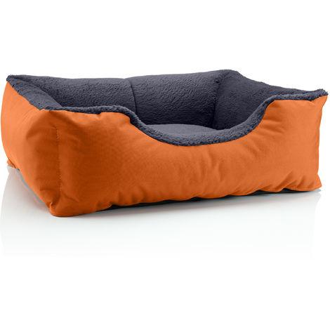 BedDog® Hundebett TEDDY, Hundesofa aus Cordura und Microfaser-Velours, waschbares Hundebett mit Rand, Hundekissen vier-eckig:XL (ca. 100x85cm), MELANGE (braun/beige)