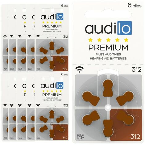 60 Piles auditives Audilo de taille 312 (lot de 10 plaquettes) 0% mercure