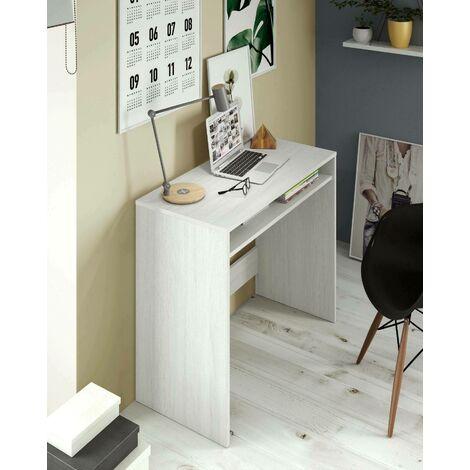 Scrivania con ripiano fisso sotto al tavolo, colore bianco effetto legno levigato, cm 79 x 78 x 43.