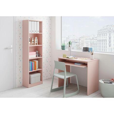 Scrivania con ripiano estraibile, colore rosa, cm 90 x 79 x 54.