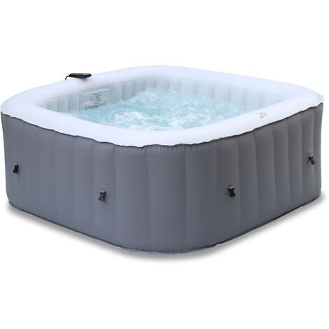 Square inflatable hot tub MSPA - FJORD 4 grey - Ø160cm square 4-person jacuzzi, PVC, pump, heater, filter, remote control
