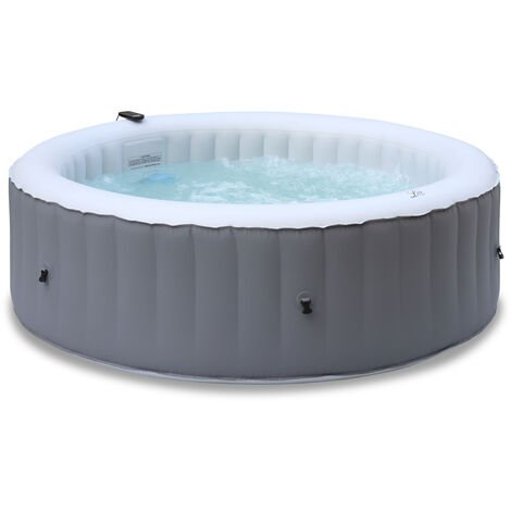 Round inflatable hot tub MSPA - Kili 6 grey - Ø205cm round 6-person jacuzzi, PVC, pump, heater, filter, remote control