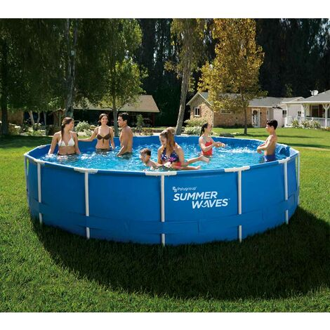 Summer Waves Pool Elite Aufstellpool Swimmingpool Blau Ø457x106 cm