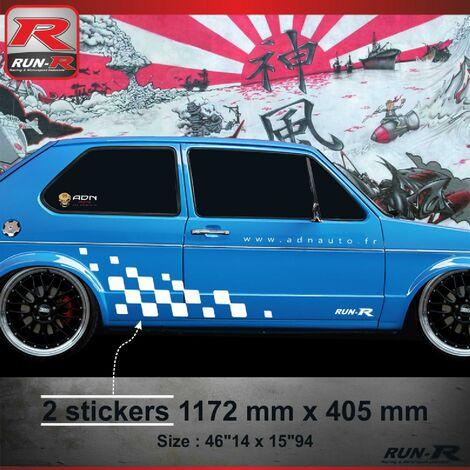 001B Sticker MOTORSPORT pour VOLKSWAGEN GOLF 1 Blanc Run-R Stickers