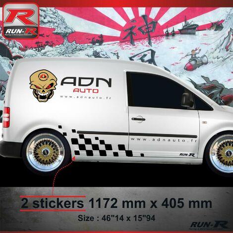 001N Sticker MOTORSPORT pour VOLKSWAGEN CADDY Noir Run-R Stickers