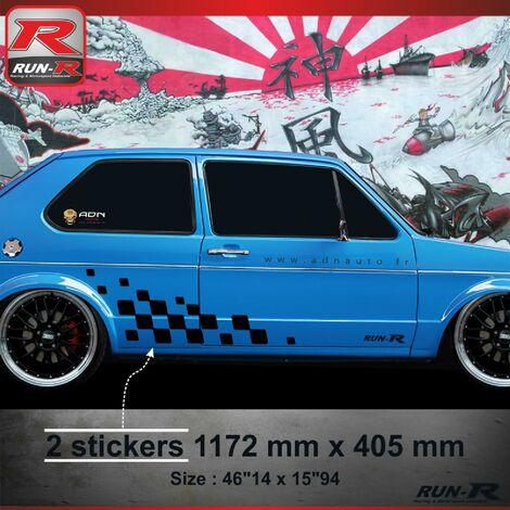 001N Sticker MOTORSPORT pour VOLKSWAGEN GOLF 1 Noir Run-R Stickers