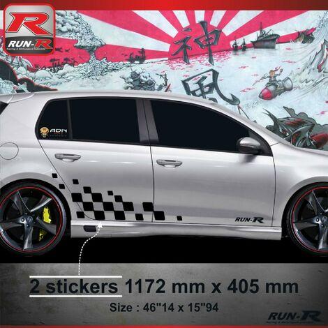 001N Sticker MOTORSPORT pour VOLKSWAGEN GOLF 6 Noir Run-R Stickers