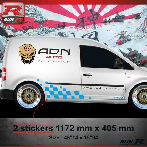 001Y Sticker MOTORSPORT pour VOLKSWAGEN CADDY Bleu Run-R Stickers