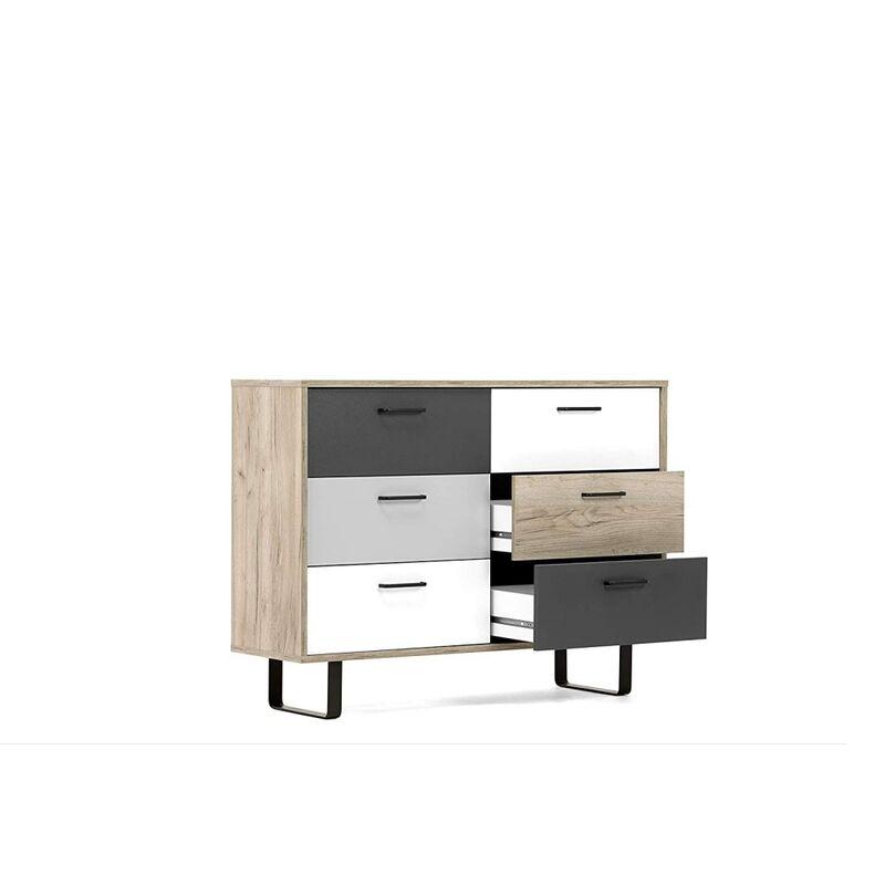 Finori - 002833 ORLANDO 2 grau Eiche Nb. / mix Kommode Beistellkommode Sideboard Buffet ca. 120 cm-'SW14433'