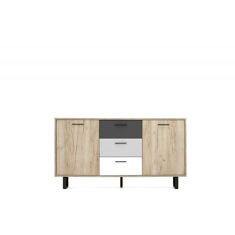 Finori - 002835 ORLANDO 4 grau Eiche Nb. / mix Kommode Beistellkommode Sideboard Buffet ca. 160 cm-'SW14435'
