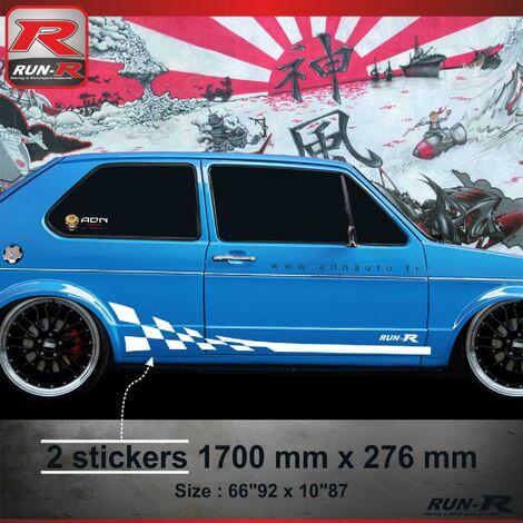 006B Sticker GTR pour VOLKSWAGEN GOLF 1 Blanc Run-R Stickers