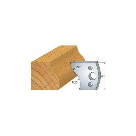 009 : jeu de 2 fers 40 mm doucine pour porte outils 40 et 50 mm