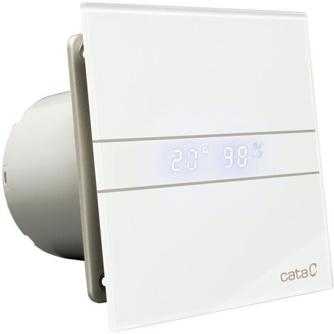 009001200 Culina E120GTH 120mm White Glass Bathroom Extractor Fan Ventilator LED Digital Timer