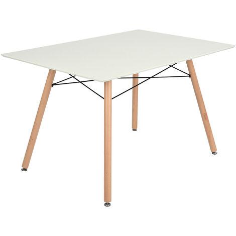 0118 Table a Manger scandinave - Blanc et Pieds hetre Massif - l 110 x l 70 cm