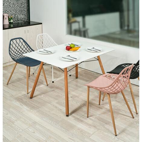 """main image of """"0118 Table a Manger scandinave - Blanc et Pieds hetre Massif - l 110 x l 70 cm"""""""