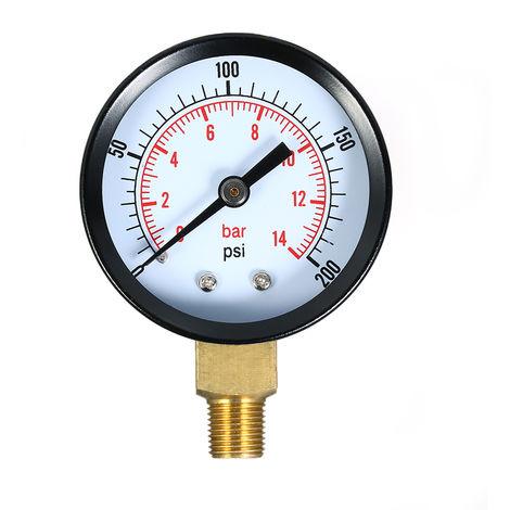 0~200psi 0~14bar Dual Scale Mechanical Pressure Gauge Pool Filter Aquarium Water Air Pressure Gauge Meter