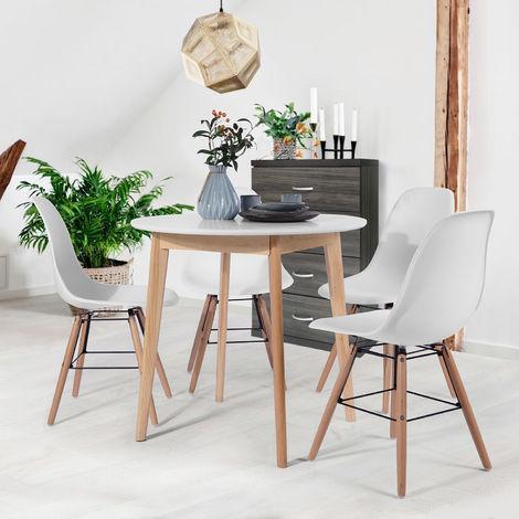 0472 Table à manger ronde Blanc 80 * 80 * 75 cm