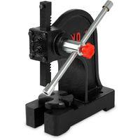 0,5 T Pressa manuale a cremagliera (500 kg Forza di pressione, Dimensioni del pezzo fino a 117 mm, Proiezione 112 mm, Leva manuale, Piastra di base a 4 posizioni)