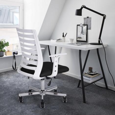 0550 Silla de oficina de malla - asiento acolchado - Altura ajustable - Blanco + Negro